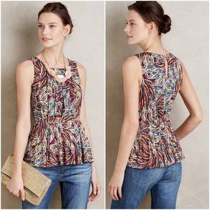 ANTHROPOLOGIE Deletta Colorful Corbara Peplum Tank